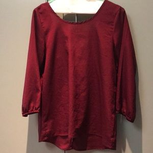 Tops - Maroon blouse with white bow back